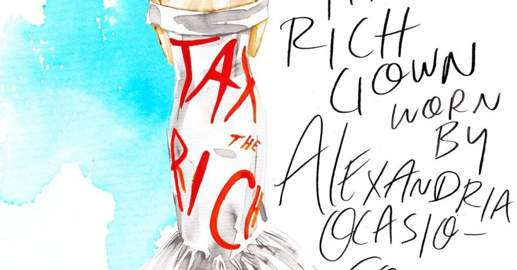 A.O.C.'s Met Gala Designer Explains Her 'Tax the Rich' Dress